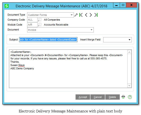 Standard Electronic Delivery Message Maintenance
